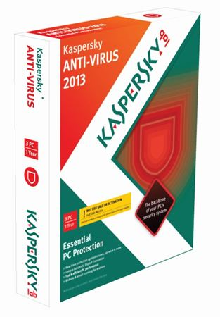 Picture of Kaspersky Anti Virus 2013, 3 user DVD Case, 1 year subscription